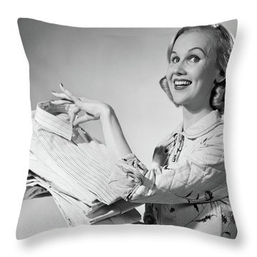 1950s Proud Smiling Woman Housewife Throw Pillow