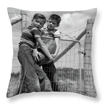 1950s Two Farm Boys In Striped T-shirts Throw Pillow