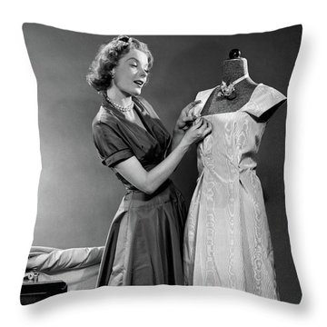 1950s Woman Making Dress Pinning Fabric Throw Pillow