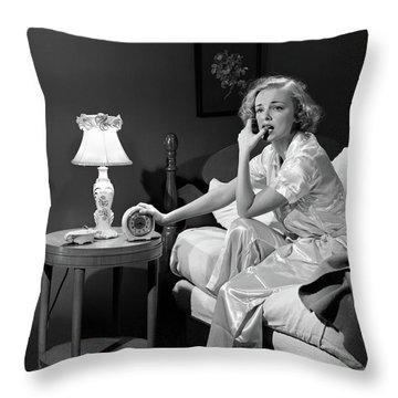 1950s Woman Silk Pajamas Sitting Edge Throw Pillow