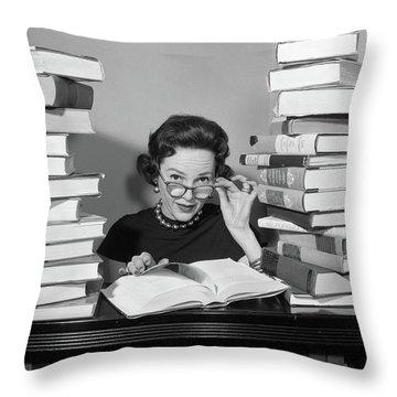 1950s Woman Sitting Between Stacks Throw Pillow