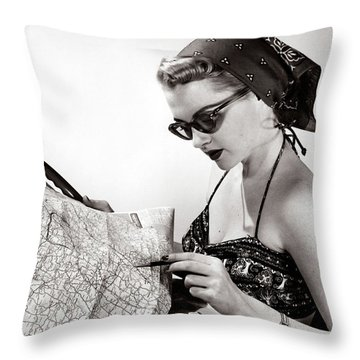 1950s Woman Wearing Bandana Sunglasses Throw Pillow