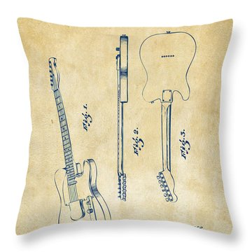 1951 Fender Electric Guitar Patent Artwork - Vintage Throw Pillow by Nikki Marie Smith