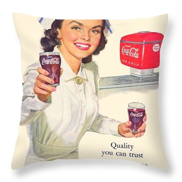 1952 - Coca-cola Advertisement - Color Throw Pillow