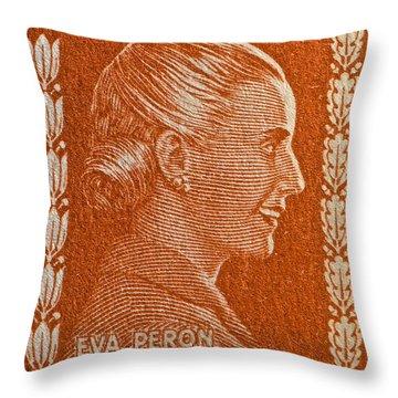 1952 Eva Peron Argentina Stamp Throw Pillow