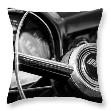 1952 Ford Wagon Steering Wheel Emblem -0187bw Throw Pillow