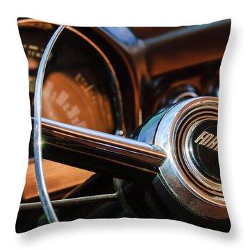 1952 Ford Wagon Steering Wheel Emblem -0187c Throw Pillow