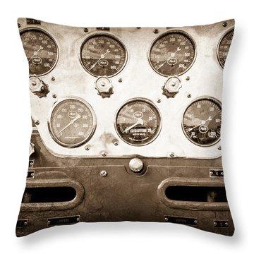 1952 L Model Mack Pumper Fire Truck Guages Throw Pillow