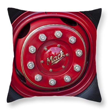 1952 L Model Mack Pumper Fire Truck Wheel Throw Pillow by Jill Reger