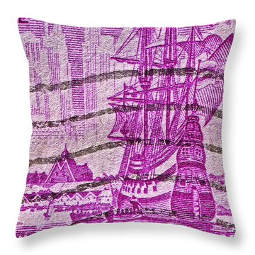 1953 300th Anniversary Of New York City Stamp Throw Pillow by Bill Owen