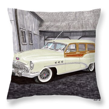 1953 Buick Estate Wagon Woody Throw Pillow