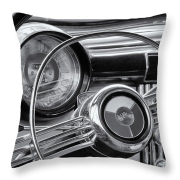 1953 Buick Super Dashboard And Steering Wheel Bw Throw Pillow by Jerry Fornarotto