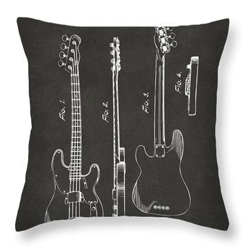 1953 Fender Bass Guitar Patent Artwork - Gray Throw Pillow by Nikki Marie Smith
