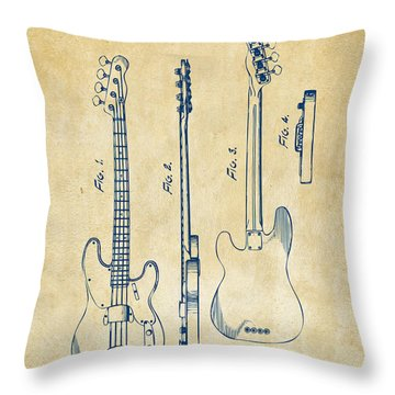 Throw Pillow featuring the digital art 1953 Fender Bass Guitar Patent Artwork - Vintage by Nikki Marie Smith