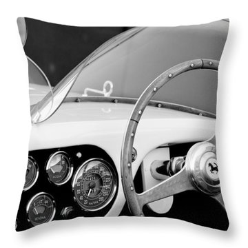 1953 Ferrari 340 Mm Lemans Spyder Steering Wheel Emblem Throw Pillow by Jill Reger