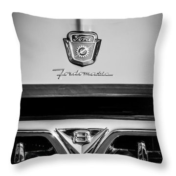 1953 Ford F-100 Fordomatic Pickup Truck Grille Emblems -0108bw Throw Pillow
