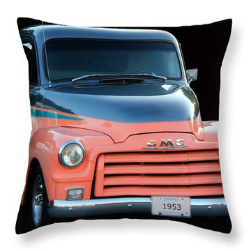 1953 Gmc Pick-up Throw Pillow by Davandra Cribbie