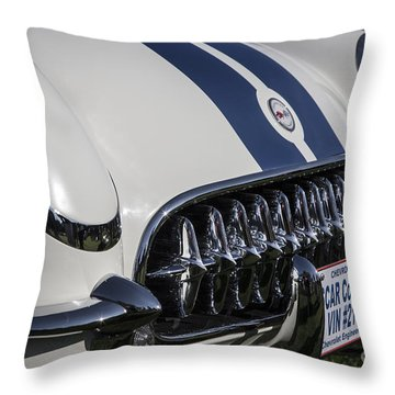 1953 Nascar Corvette Throw Pillow by Dennis Hedberg