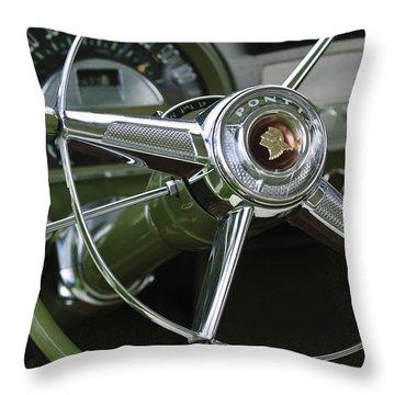 1953 Pontiac Steering Wheel Throw Pillow by Jill Reger