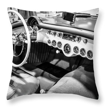 1954 Chevrolet Corvette Interior Black And White Picture Throw Pillow by Paul Velgos