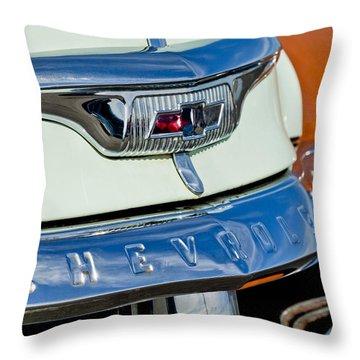 1954 Chevrolet Panel Truck Hood Emblem Throw Pillow by Jill Reger