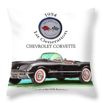 Corvette First Generation Throw Pillow by Jack Pumphrey