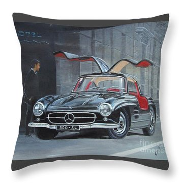 1954 Mercedes Benz 300 Sl Gullwing Throw Pillow