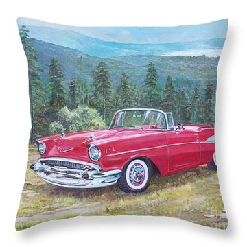 1955-1957 Chevrolet Bel Air Cabriolet Throw Pillow