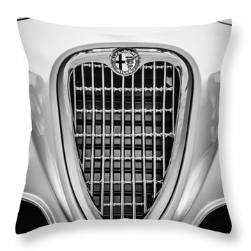 1955 Alfa Romeo 1900 Css Ghia Aigle Cabriolet Grille Emblem -0564bw Throw Pillow by Jill Reger