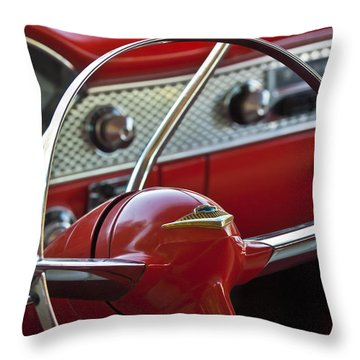 1955 Chevrolet Belair Nomad Steering Wheel Throw Pillow