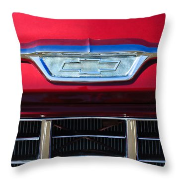 1955 Chevrolet Pickup Truck Grille Emblem Throw Pillow by Jill Reger