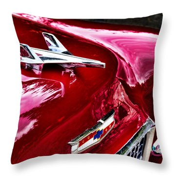 1955 Chevy Bel Air Hood Ornament Throw Pillow by Peggy Collins