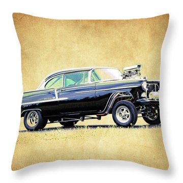 1955 Chevy Gasser Throw Pillow by Steve McKinzie