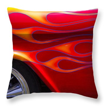 1955 Chevy Pickup With Flames Throw Pillow by Garry Gay