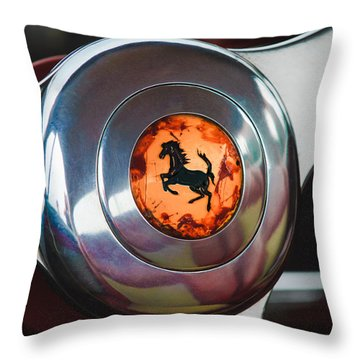 1955 Ferrari 250 Europa Gt Pinin Farina Berlinetta Steering Wheel Emblem Throw Pillow by Jill Reger