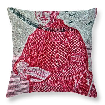 1955 First Certified Mail Stamp Throw Pillow