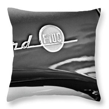 1955 Ford F-100 Pickup Truck Side Emblem -3515bw Throw Pillow