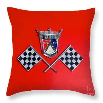 1955 Ford T-bird Logo Throw Pillow by Mark Dodd