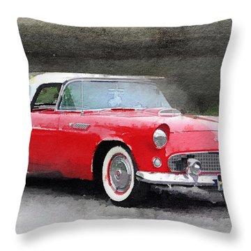 1955 Ford Thunderbird Watercolor Throw Pillow