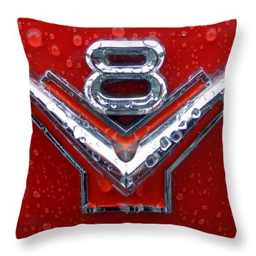1955 Ford V8 Emblem Throw Pillow