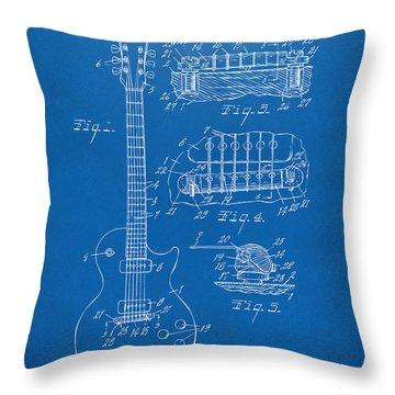 1955 Mccarty Gibson Les Paul Guitar Patent Artwork Blueprint Throw Pillow