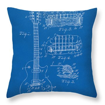 Throw Pillow featuring the digital art 1955 Mccarty Gibson Les Paul Guitar Patent Artwork Blueprint by Nikki Marie Smith