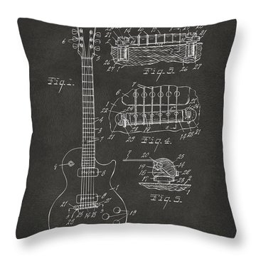1955 Mccarty Gibson Les Paul Guitar Patent Artwork - Gray Throw Pillow