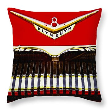 Throw Pillow featuring the photograph 1955 Plymouth P27 Convertible by Trey Foerster
