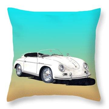1955 Porsche Speedster Rhd Throw Pillow by Jack Pumphrey