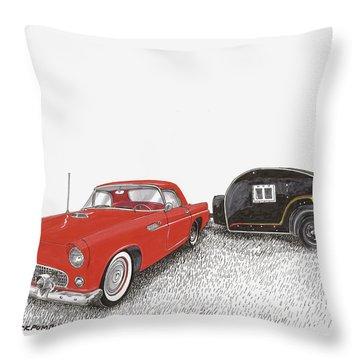 1955 Thunderbird And Kit Teardrop Throw Pillow by Jack Pumphrey
