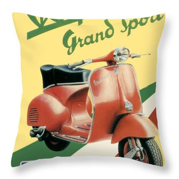 1955 - Vespa Grand Sport Motor Scooter Advertisement - Color Throw Pillow