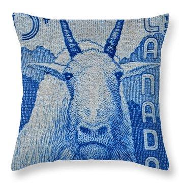1956 Canada Mountain Goat Stamp Throw Pillow
