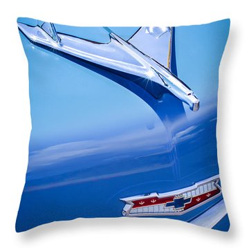 1956 Chevrolet 210 2-door Handyman Wagon Hood Ornament - Emblem Throw Pillow by Jill Reger