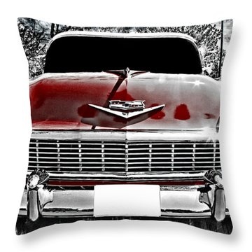 Classic Cars Throw Pillow featuring the photograph 1956 Chevy Bel Air by Aaron Berg